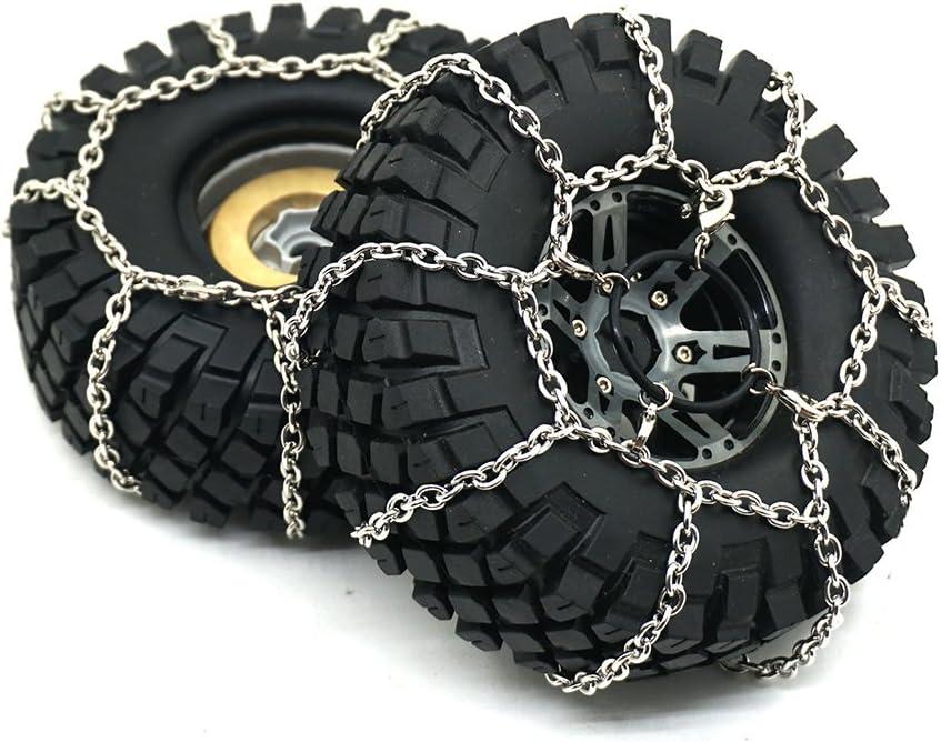 2x Metal Snow Ice Tire Chains Anti-skid Wheel Tyres Chain For 1//10 Traxxas TRX-4