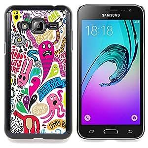 """Qstar Arte & diseño plástico duro Fundas Cover Cubre Hard Case Cover para Samsung Galaxy J3(2016) J320F J320P J320M J320Y (Fondo de pantalla colorido personaje de dibujos animados Monsters"""")"""
