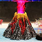 Pawfly Aquarium Volcano Ornament Kit with Red LED Spotlight
