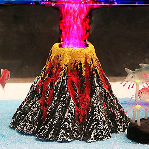 Uniclife Aquarium Volcano Ornament Kit with Air Stone bubbler Fish Tank Decorations by Uniclife