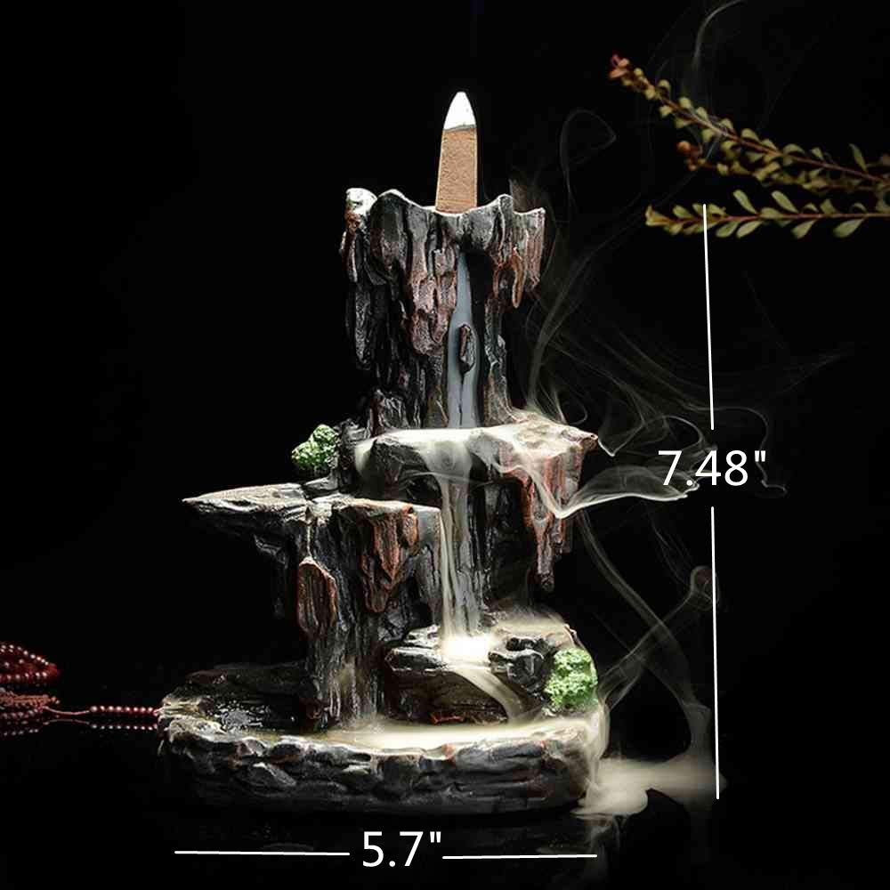 LEAFIS Waterfall Monk Backflow Incense Burner Mountain Tower Incense Holders for Home Office Yoga Aromatcherapy Ornamen (with 10 Cones) by LEAFIS (Image #7)