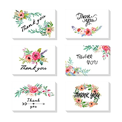 23077ea6a110 Image Unavailable. Image not available for. Color  Dohuge 6 Pieces Thank  You Cards Elegant Floral Flower ...
