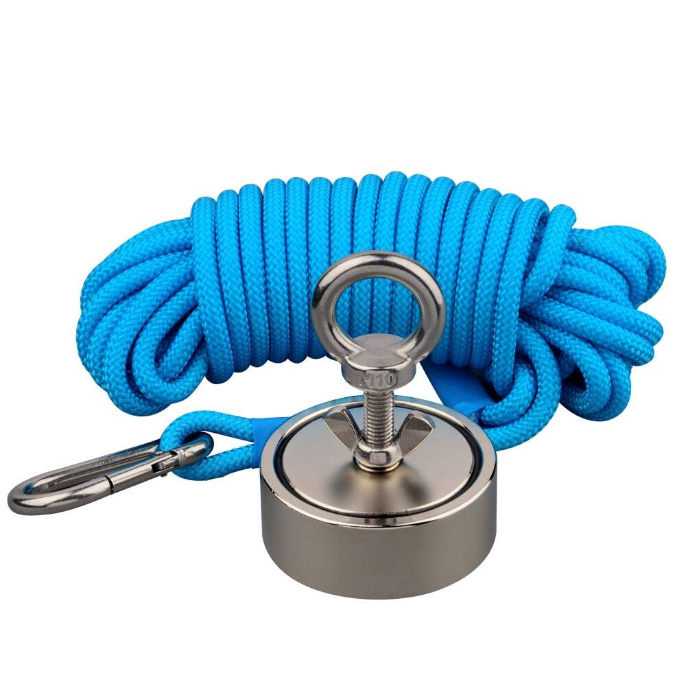Mutuactor Combined 400kg Double Sides Vertical Magnetic Pull Force Neodymium Fishing Magnet With 10m Rope