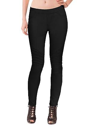 ca0f2969957c83 HyBrid & Company Womens Super Comfy Stretch Moto Pants P44190SK Black Small