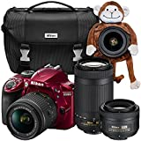 Nikon D3400 24.2 MP Triple Lens Ultimate Parent's Camera Kit, 3.0'', Red