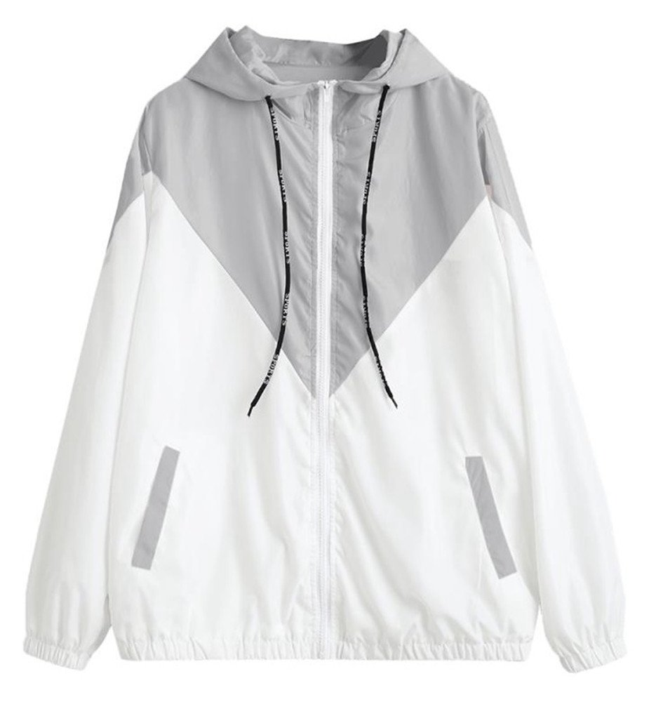 Vanbuy Women Junior Color Block Drawstring Hooded Lightweight Windbreaker Jacket Coat Z148-Gray-M