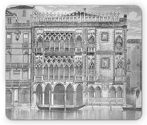 Antique Mouse Pad by Lunarable, 19th Century Engraving of Grand Canal Venice Monument Landmark Illustration Print, Standard Size Rectangle Non-Slip Rubber Mousepad, Black White - Venice Engraving