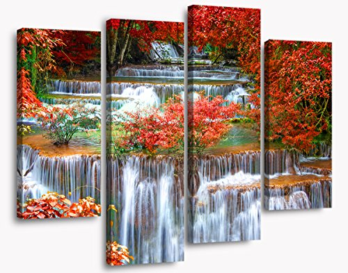 Beautiful Scenery Red Leaves Waterfall Charming Autumn Photography Wallpaper Picture Natural Landscape Canvas Print Background Wall Decoration Home Art 4 Panel Ready to Hang(Frame)