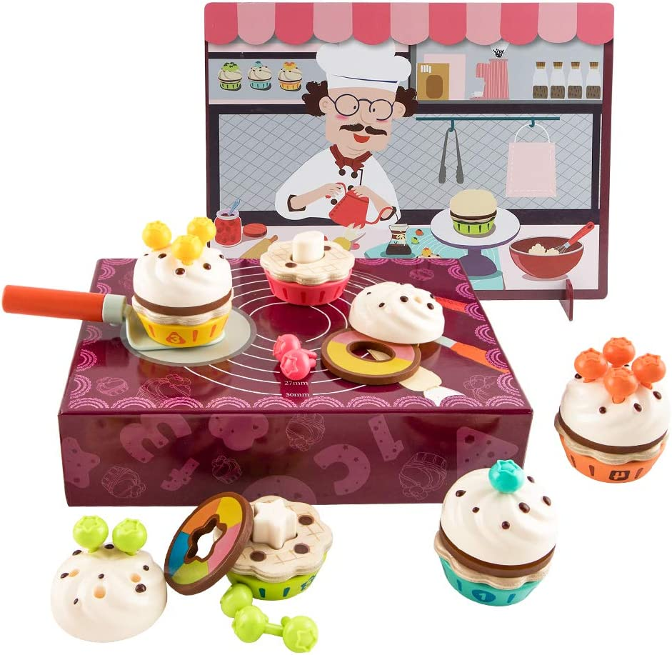 TOP BRIGHT Cake Toy, Wooden Cakes Pretend Play Food Kitchen Set for Toddlers 2 3 4 Year Old Girls & Boys