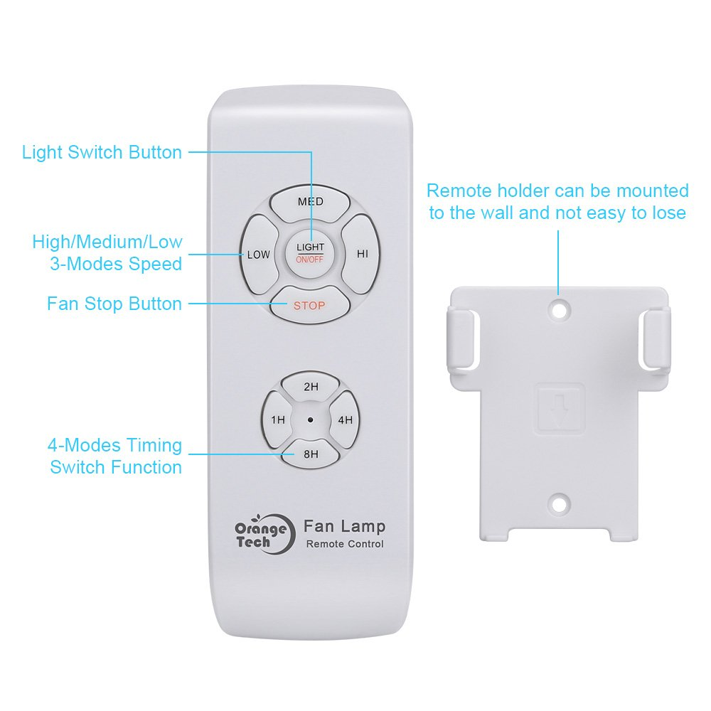 Orange Tech RF Ceiling Fan Lamp Remote Controller Universal Kit Wireless Control with Timing Setting for Home/ Office/Hotel/ Club / Display Hall/ Restaurant by ORANGE TECH (Image #2)