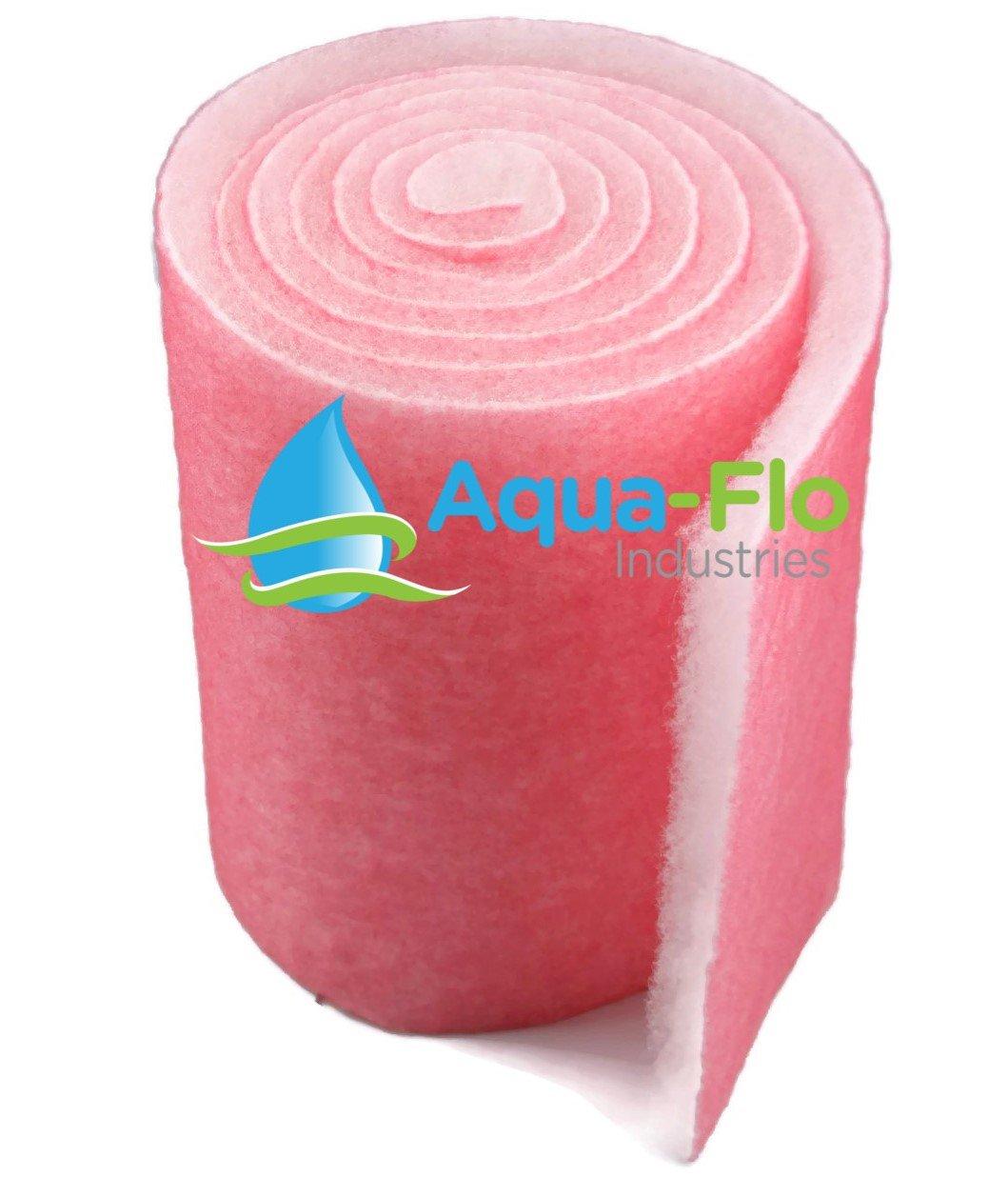 "Aqua-Flo Pond & Aquarium Filter Media, 12"" x 120"" (10 Feet) Long x 1"" Thick (Pink/White)"