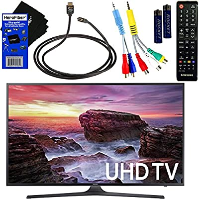 """Samsung Electronics UN40MU6290 40"""" Inch HDR 4K Ultra HD Smart LED TV + Remote Control + Component Cables + Xtech High-Speed HDMI Cable w/Ethernet + HeroFiber Ultra Gentle Cleaning Cloth"""