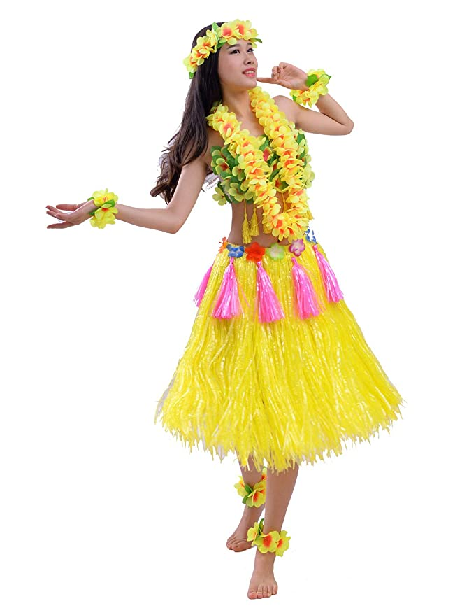 FEOYA - Traje Fiesta Hawaiana Disfraz para Mujer Falda de ...