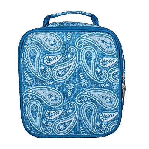Vintage Blue Paisley Water Resistant Zipper Closure Isulated Soft Cooler Lunch Bag