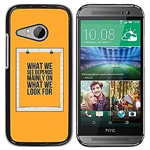TopCaseStore / la caja del caucho duro de la cubierta de protección de la piel - Yellow Text Poster Meaning - HTC ONE MINI 2 / M8 MINI
