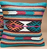 Southwest Boutique Hand Woven WOOL Throw Pillow Cover Southwest Mexican Tribal Native American Style (Cali)