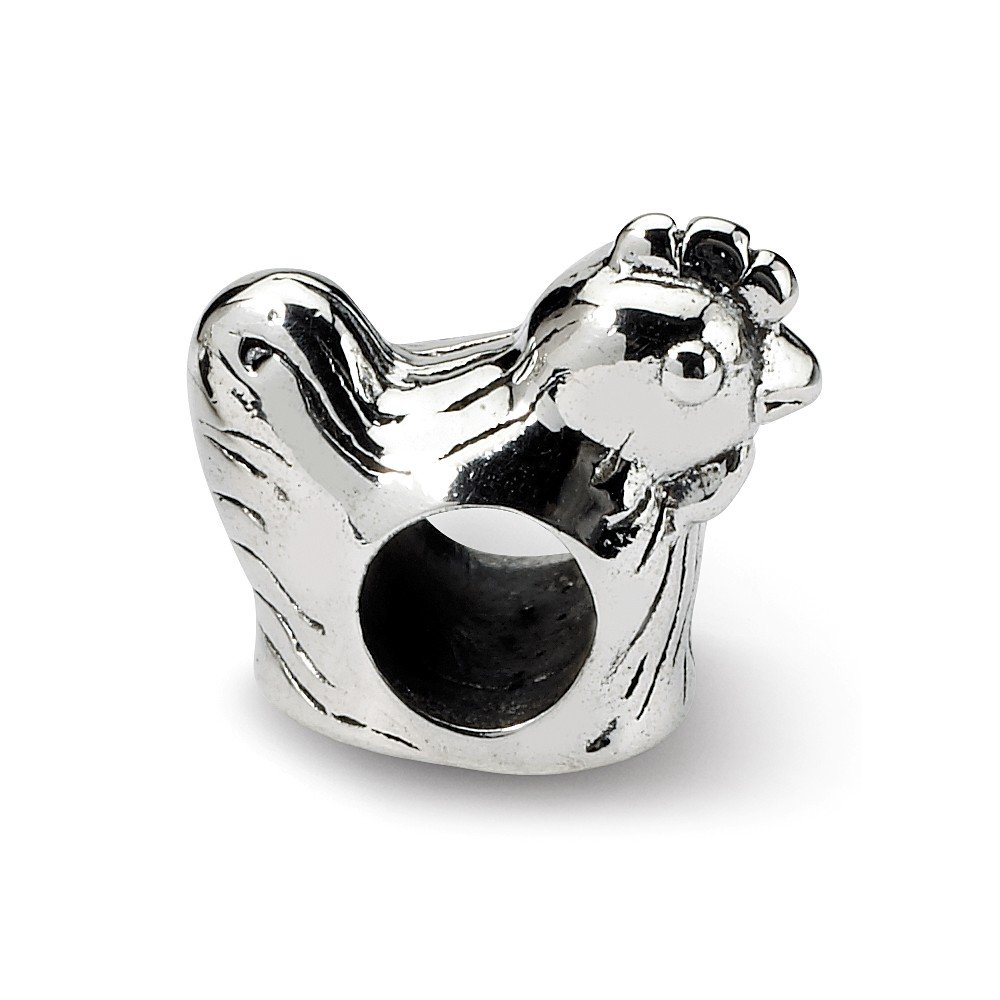 6.4mm x 10mm Solid 925 Sterling Silver Reflections Chicken Bead