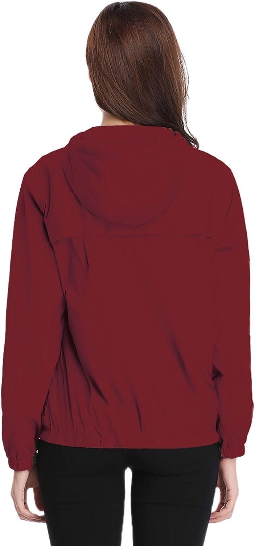 Abollria Giacca a Vento Impermeabile Donna Leggera con Cappuccio e Tasche Giacche Antipioggia e Vento Cappotto Antivento Casual