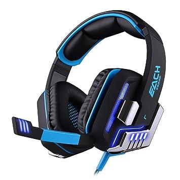 BlueBeach® G8200 Virtual 7.1 Sonido Envolvente Gaming USB Auriculares para Juegos con vibración 4d inteligente