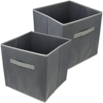com-four® 2X Cajas de Almacenamiento Plegables, Cajas Plegables para organizar en Gris