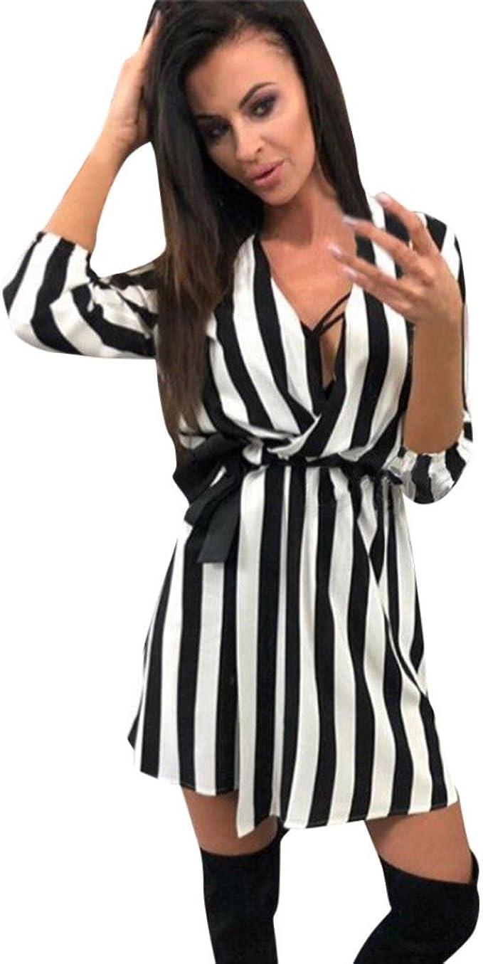 Sommerkleid Damen,Hevoiok Partykleid Schwarz Weiß Gestreift Strandkleid  Sexy Elegant Casual Lose Kleider Frauen V-Ausschnitt Kurzes Minikleid