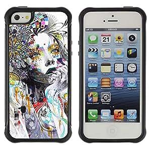 Suave TPU Caso Carcasa de Caucho Funda para Apple Iphone 5 / 5S / Woman Colorful Abstract Style / STRONG