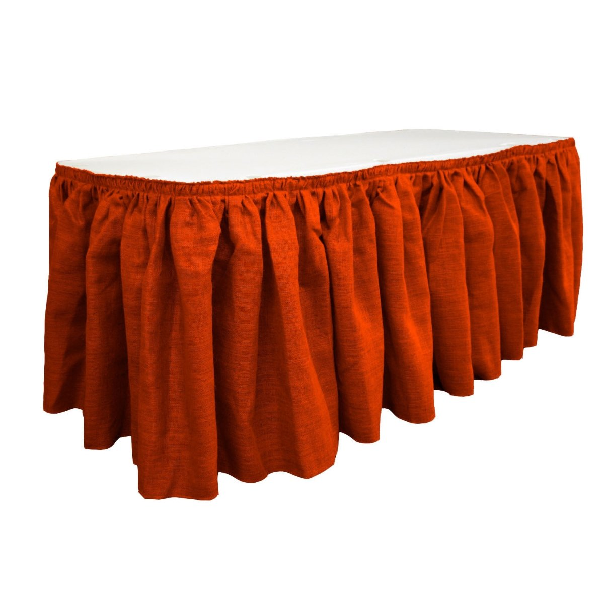 LA Linen SkirtBurlap17x29-10Lclips-Red Burlap Table Skirt with 10 L-Clips44; Red - 17 ft. x 29 in.