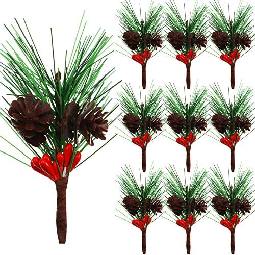 20pcs Artificial Pine Picks Small Artificial Pine Tree for Christmas Flower Arrangements Wreaths Fake Red Berries Pinecones Fake Pine Picks Pine Needle Garland for Christmas Party Table Decorations