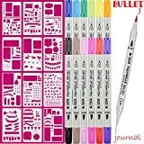 Dual Art Marker fineliner pens 12 Colored and 12pcs Notebook Diary Scrapbook Templates Plastic Planner Bullet Journal Supplies Kit