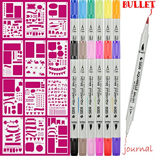 Dual Art Marker fineliner pens 12 Colored and 12pcs Notebook Diary Scrapbook Templates Plastic Planner Bullet Journal Supplies (Planner Template)