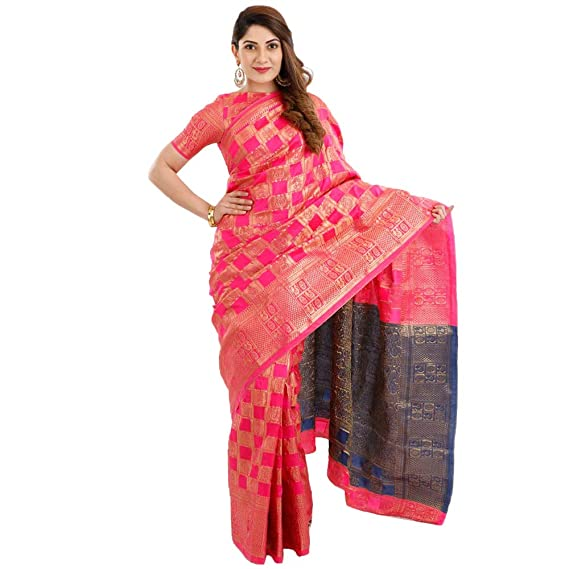9cb42679c5 Ruchika Fashion Art Silk Saree with Blouse Piece (Mimosa Pink_Pink_One  Size): Amazon.in: Clothing & Accessories