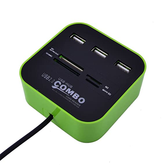 Amazon.com: DealMux PC Portátil LED Light Multi-Function 7 Slots USB 2.0 Comb USB Hub Card Reader Verde: Electronics