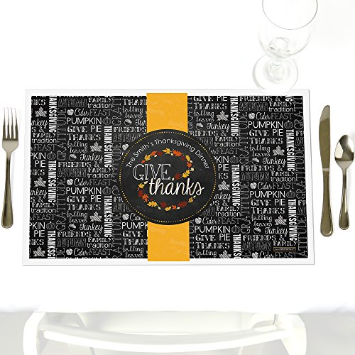 Give Thanks - Party Table Decorations - Personalized Thanksgiving Party Placemats - Set of 12 (Personalized Placemat Thanksgiving)