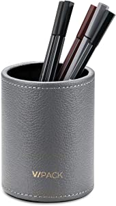 Vpack Round Pen Pencil Cup Holder Stand Desk Office Organizer, PU Leather Desktop Supplies Organizer for Home, School, Office (Grey)