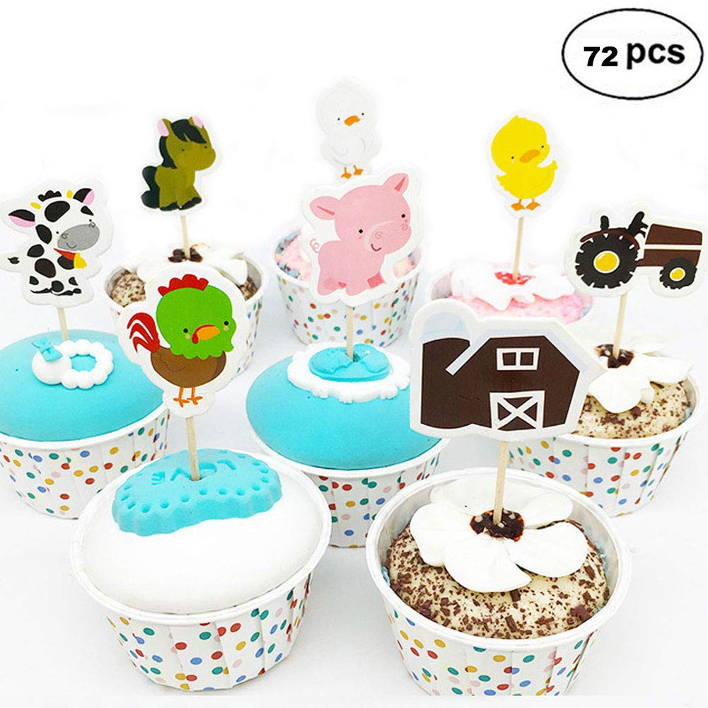 Farm Animal Cupcake Toppers, Cake Decorations, Appetizer Picks for Kids Birthday Party, Themed Party (72 pack)