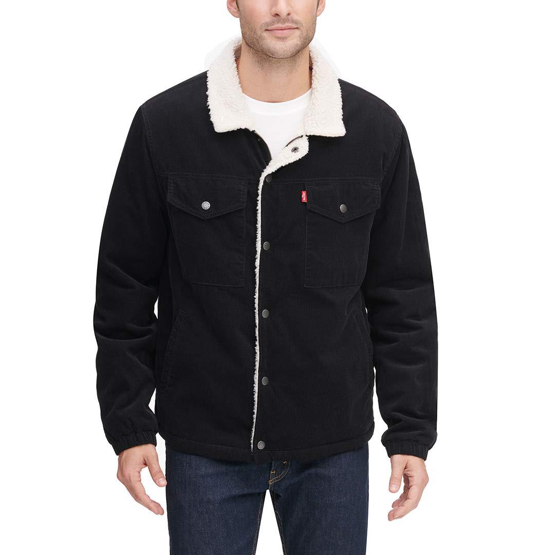 Levi's Men's Corduroy Sherpa Lined Trucker Jacket, Black, X-Large by Levi's
