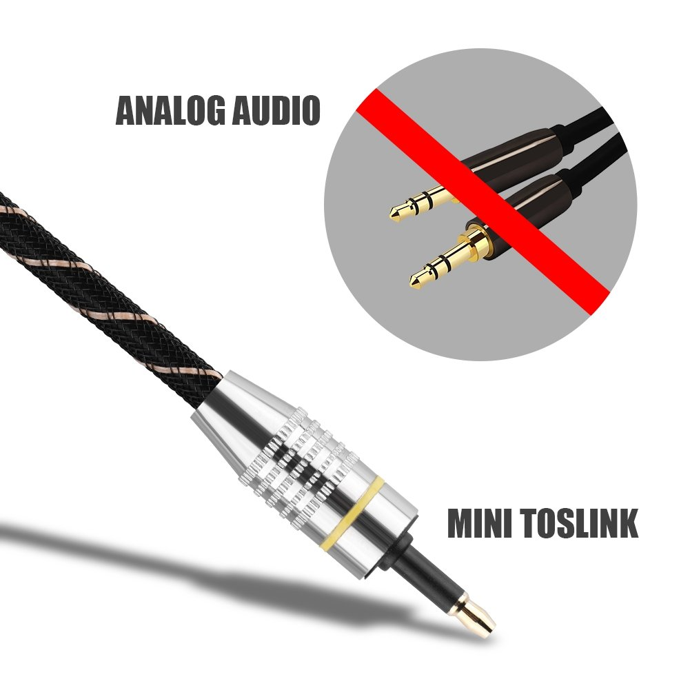 PVC Jacket with Clear HiFi Sound Digital Optical Audio Cable for Toslink Toslink to Mini Plug 3.5mm Optical Fiber Digital Audio Cable SPDIF Gold Plated Connector Round 250M bit//s Bandwidth 2M