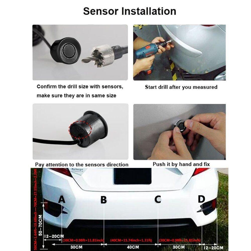 Amazon.com: PEMENOL Wireless Car Reverse Backup Radar System 4 ...