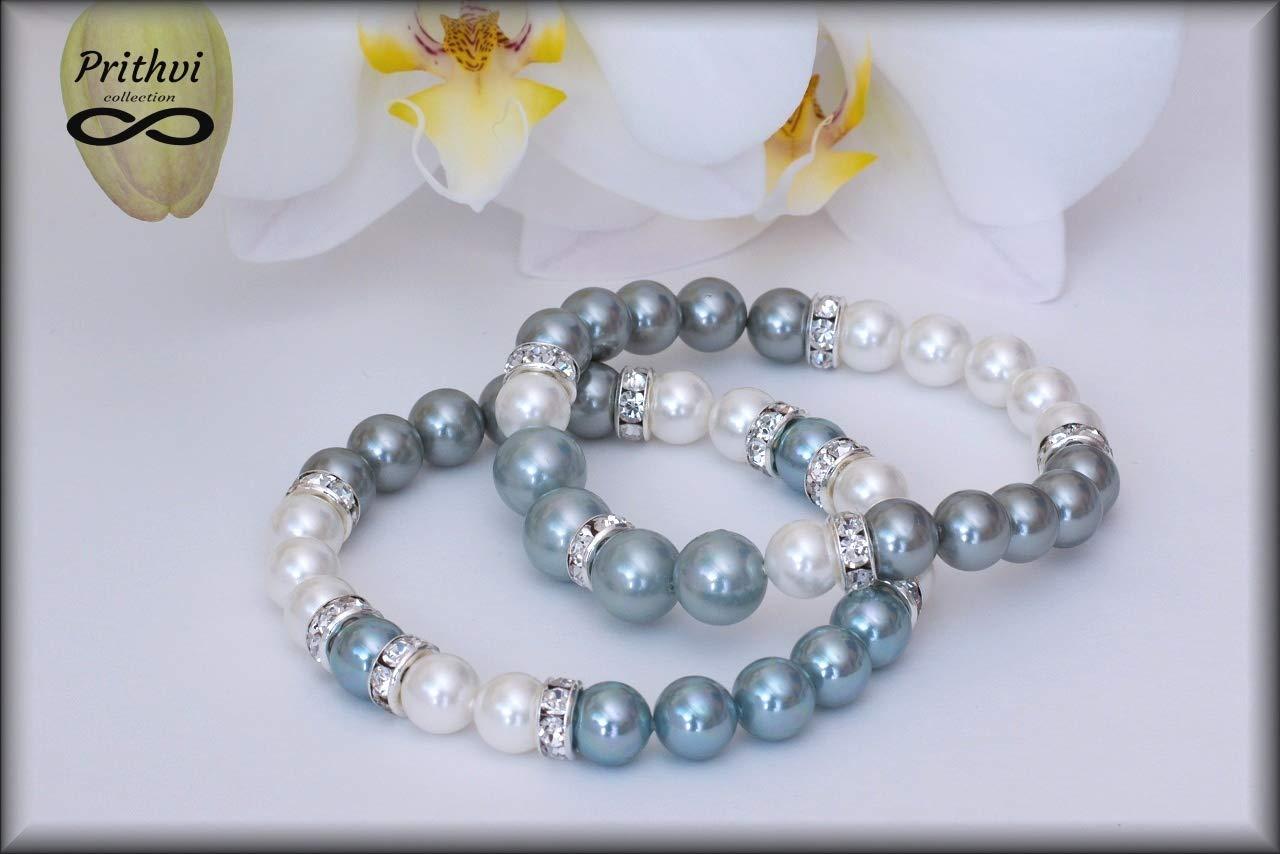 Dos pulseras para mujer - Perlas de río (8mm, 10mm)