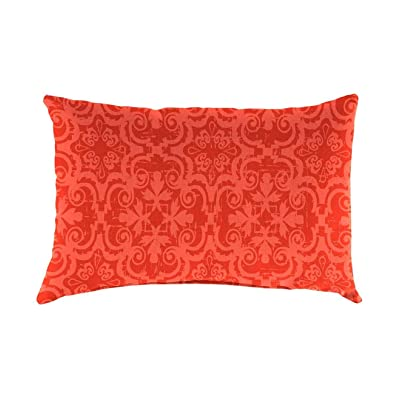 Plow & Hearth Polyester Classic Lumbar Pillow - 19 x 12 x 5.5 Persimmon Block Print : Garden & Outdoor