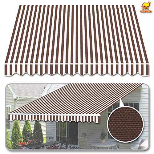 Strong Camel Awning Replacement Cover Only Sunshade Cover Outdoor Canopy Replacement for 10' x 8' Manual Yard Retractable Patio Deck Awning (Brown with - Replacement Awning Cover
