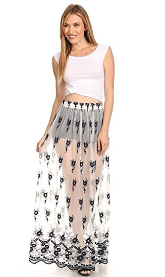 dfc3784429 Image Unavailable. Image not available for. Color  Floral Embroidered Sheer  Maxi Skirt ...
