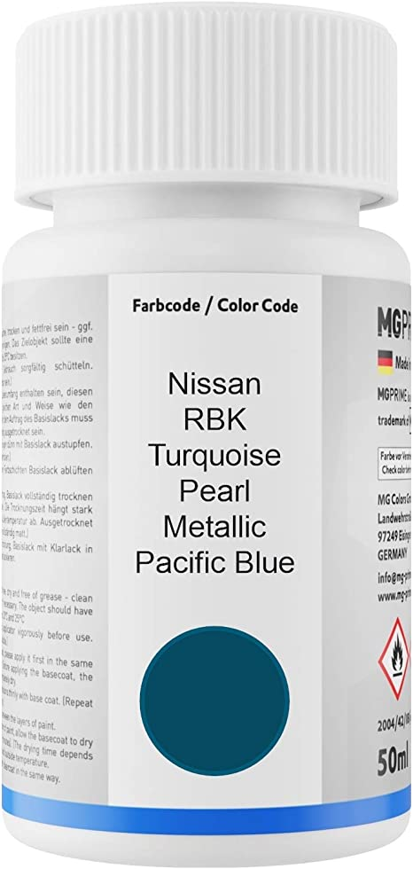 Mg Prime Autolack Lackstift Set Für Nissan Rbk Turquoise Pearl Metallic Pacific Blue Basislack Klarlack Je 50ml Auto