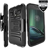 Moto G Play Case, Moto G4 Play Case With Tempered Glass Screen Protector,IDEA LINE(TM) Combo Holster Kickstand Belt Clip - Black (Not Fit Moto E4 / Moto G4 and Moto G4 Plus)