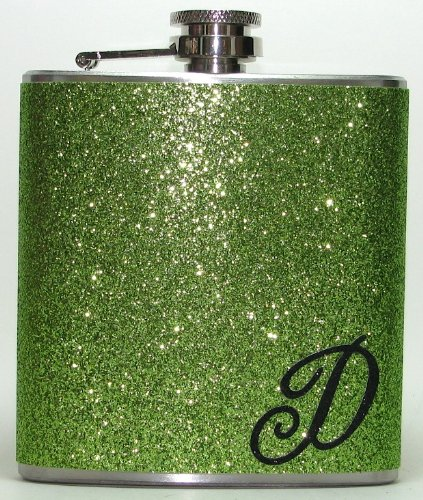 Lime Green Personalized Sparly Glitter Initial 6 oz Liquor Hip Flask Flasks Gift
