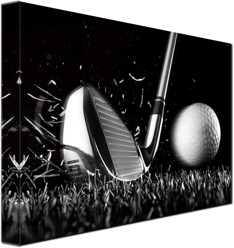 1 Piece Canvas Print Black and White Poster Wall Art Picture Golf Ball Sport Canvas Painting for Gym Living Room Wall Decor Frame Canvas (12x16inch)