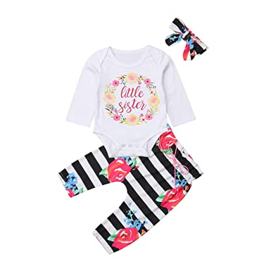 b1e7272fe752 Amazon.com  3PCS Newborn Kids Baby Girl Romper Long Sleeve Cotton  Tops+Floral Striped Pants+Headband Outfit Clothes Set Autumn  Clothing