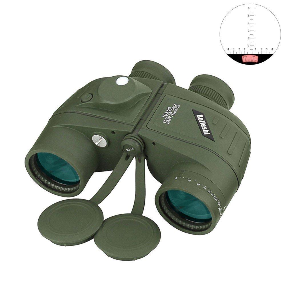 beileshi 10x 50Sport Military Optics Spektiv mit Kompass für die Jagd Camping Wandern Reisen Concert Wasserdicht Stoßfest Fernglas Teleskop