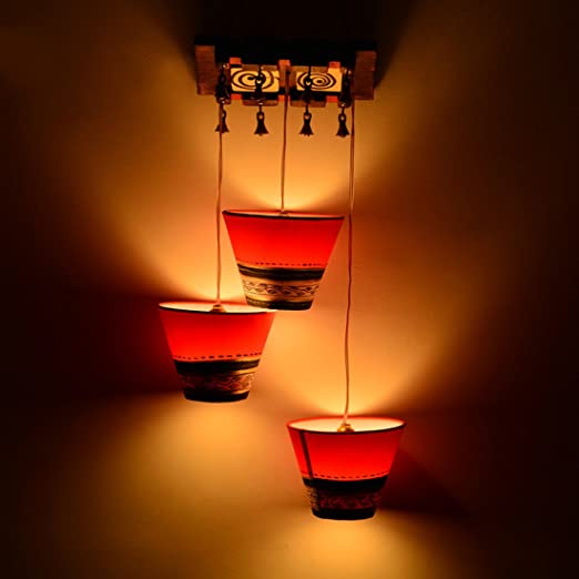ExclusiveLane Bucket Shaped Home Decorative Chandelier Light Cum Hanging Ceiling Lamp with 3 Shades (Brown and Red) Chandeliers at amazon