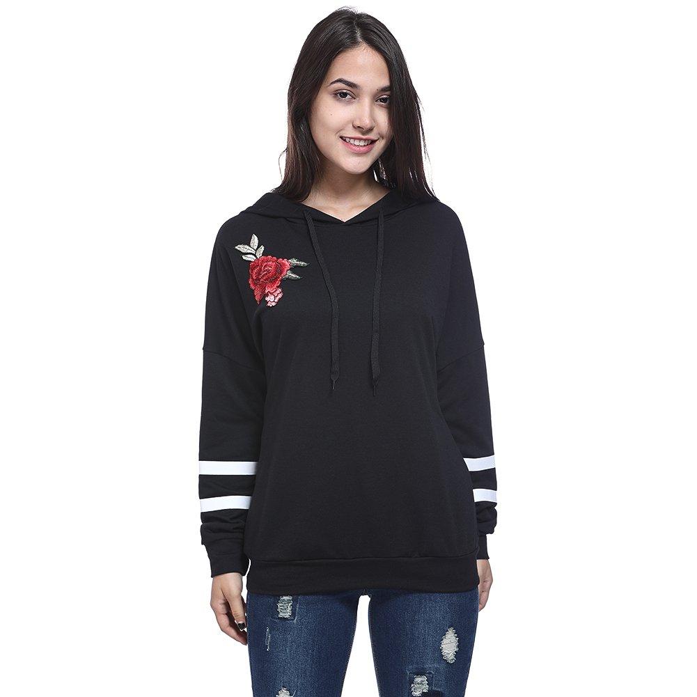 qingdg 2018 Women Hoodies Roses Embroidery Long Sleeve Striped Girl Sweatshirt Black